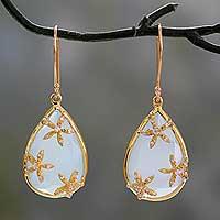 Gold vermeil chalcedony dangle earrings,