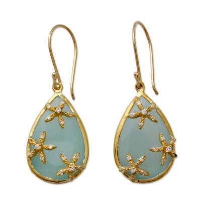 Chalcedony Earrings in Gold Vermeil with Cubic Zirconia