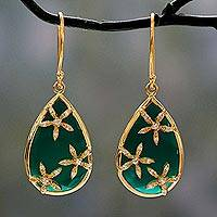 Gold vermeil onyx dangle earrings, 'Green Floral Kiss' - Gold Vermeil with Cubic Zirconia Green Onyx Earrings