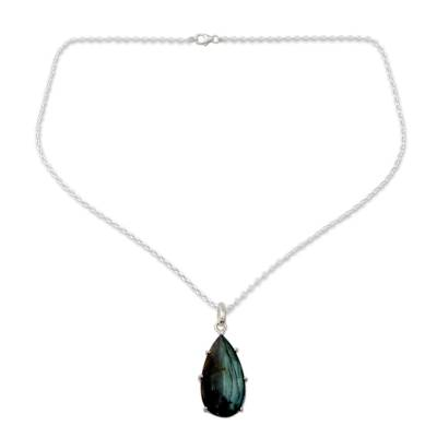 Fair Trade Labradorite and Sterling Silver Pendant Necklace