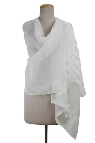 Cotton and silk shawl, 'Ivory Garland' - Ivory on Ivory Hand Embroidered Cotton and Silk Shawl