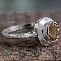 Citrine solitaire ring, 'Sunshine Halo' - Indian Artisan Crafted Citrine Solitaire Ring in Silver 925