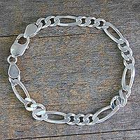 Men's sterling silver link bracelet, 'Being Bold' - Artisan Crafted Men's Sterling Silver Link Bracelet