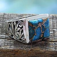 Men's sterling silver ring, 'Fascination' - Hand Crafted Sterling Silver Composite Turquoise Men's Ring