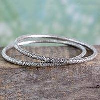 Sterling silver bangle bracelets, Abstract Delight (pair)