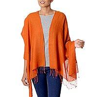 Silk and wool shawl, 'Rustic Beauty' - Artisan Crafted Solid Orange Silk Blend Shawl from India