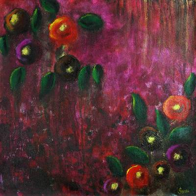 'Rose Bush' - Signed Modern Indian Artwork Painting of Flowers