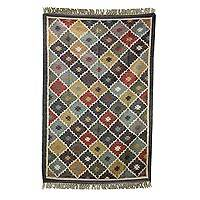 Jute area rug, 'Festival of Colors' (5x7) - Artisan Crafted 100% Jute Colorful Area Rug (5x7)
