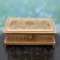 Wood jewelry box, 'Floral Galaxy' - Artisan Crafted Wood Jewelry Box with Jali Carving