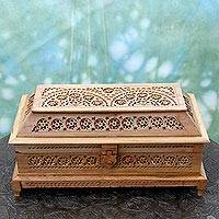 Wood jewelry box, 'Starry Dreams' - Artisan Crafted Wood Jali Jewelry Box from India