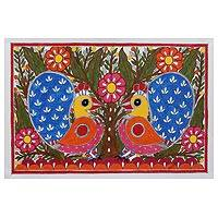 Madhubani painting, 'Spring Song' - Colorful Madhubani Painting of Peacocks from India
