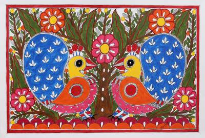 Colorful Madhubani Painting of Peacocks from India