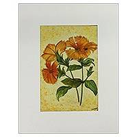'Burning Beauties' - Signed Calliopsis Floral Watercolor Painting from India
