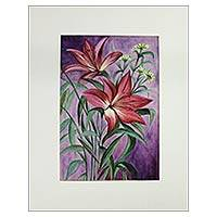 'The Twins' - Twin Lilies Watercolor Painting Signed Artwork from India