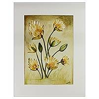 'Garden Beauty' - Blossoming Daisies Watercolor Painting Signed Artwork