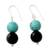 Onyx dangle earrings, 'Azure at Midnight' - Onyx Earrings with Reconstituted Turquoise Crafted in India (image 2a) thumbail
