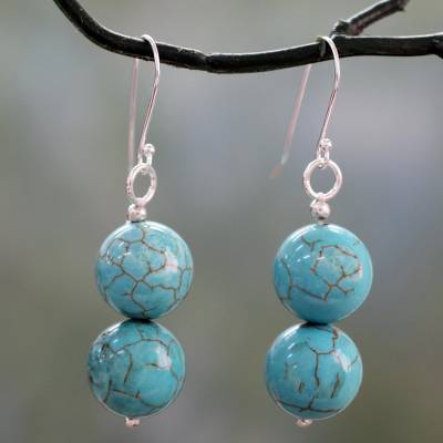 Sterling silver dangle earrings, Azure Paths
