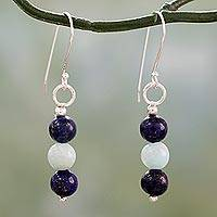 Lapis lazuli and amazonite dangle earrings,