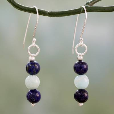 Lapis lazuli and amazonite dangle earrings, 'Sweet Mysteries' - Lapis Lazuli and Amazonite Sterling Silver Dangle Earrings