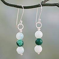 Amazonite and malachite dangle earrings, 'Forest Mysteries' - Amazonite Earrings with Malachite and Silver Hooks