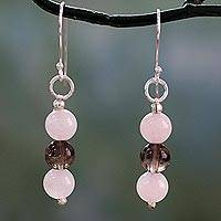 Rose quartz and smoky quartz dangle earrings, 'Subtle Mysteries' - Handcrafted Rose Quartz Earrings with Smoky Quartz