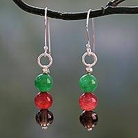Quartz dangle earrings, 'Festive Trio' - Hand Crafted Smoky Quartz Silver Hook Dangle Earrings