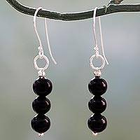 Onyx dangle earrings, 'Midnight Radiance' - Hand Crafted Onyx and Sterling Silver Dangle Earrings