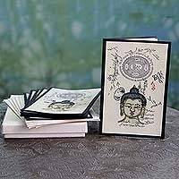 Handmade paper greeting cards, 'Serene Buddha' - Set of 6 Handmade Paper Greeting Cards with Buddha Motif