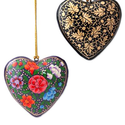 Papier mache ornaments, 'Season of Love' (set of 4) - 4 Floral Hearts Artisan Crafted Papier Mache Ornaments Set