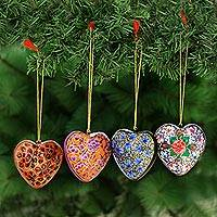 Papier mache ornaments, 'Bouquet of Hearts' (set of 4) - 4 Artisan Crafted Papier Mache Ornaments Flower Hearts Set
