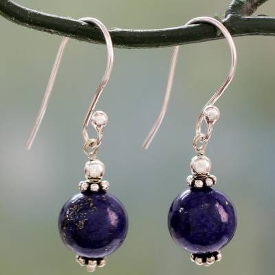Lapis lazuli dangle earrings, 'Royal Discretion' - Petite Lapis Lazuli Dangle Earrings with Sterling Silver