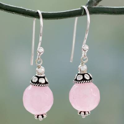 Chalcedony dangle earrings, 'Royal Discretion' - Pink Chalcedony Dangle Earrings with Sterling Silver
