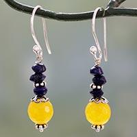 Lapis lazuli and chalcedony dangle earrings,