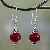 Agate dangle earrings, 'Glorious Red' - Red Agate Artisan Crafted Sterling Silver Earrings