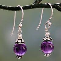 Amethyst dangle earrings, 'Royal Discretion' - Sterling Silver Dangle Earrings with Petite Amethyst Globes
