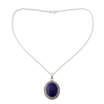 Lapis Lazuli Pendant on Artisan Crafted 925 Silver Necklace