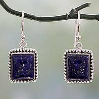 Lapis lazuli dangle earrings, 'Good Will Spirit' - Sterling Silver Dangle Earrings from India with Lapis Lazuli