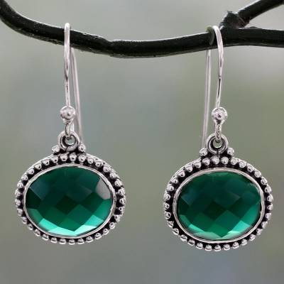 Sterling silver dangle earrings, 'Green Transformation' - Lush Green Onyx on Sterling Silver Earrings from India