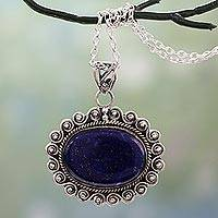 Lapis lazuli pendant necklace, 'True Admiration' - India Lapis Lazuli Necklace Artisan Crafted with 925 Silver