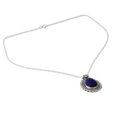 Lapis Lazuli Necklace from India Crafted with 925 Silver