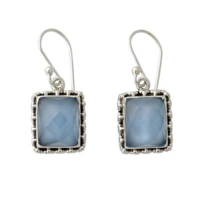 Sterling Silver Earrings from India with Blue Chalcedony