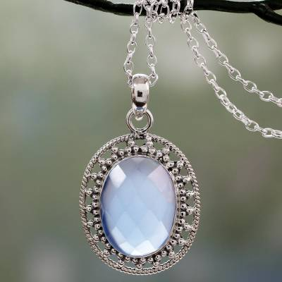 Chalcedony pendant necklace, 'Azure Ice' - Pale Blue Chalcedony Artisan Crafted Silver Necklace