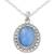 Chalcedony pendant necklace, 'Azure Ice' - Pale Blue Chalcedony Artisan Crafted Silver Necklace (image 2b) thumbail
