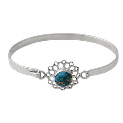 Handcrafted Silver Bangle Bracelet with Composite Turquoise