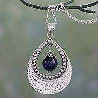 Lapis lazuli pendant necklace, 'Jaipur Dazzle' - Lapis Lazuli in Indian Jewelry 925 Sterling Silver Necklace