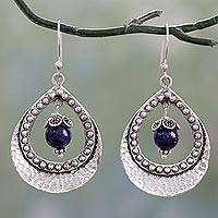 Lapis lazuli dangle earrings, 'Jaipur Dazzle' - Lapis Lazuli in Indian 925 Sterling Silver Dangle Earrings