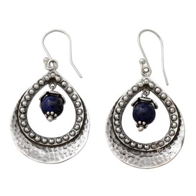 Lapis Lazuli in Indian 925 Sterling Silver Dangle Earrings