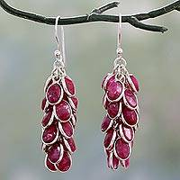 Agate cluster earrings, 'Pink Radiance' - Hot Pink Agate Clusters in Handmade Silver Earrings