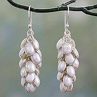 Cultured pearl cluster earrings, 'Silvery White Energy' - Clusters of Silvery White Pearl in Handmade Silver Earrings