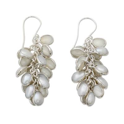 Clusters of Silvery White Pearl in Handmade Silver Earrings